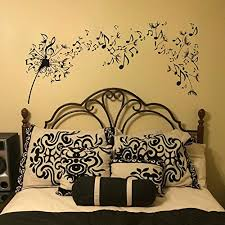 Wall Stickers Murals Dandelion Wall Decal Vinyl Sticker Decals Nature Flower Music Musical Notes Boho Bedding Decor Decal Stickers Bedroom Living Room Art Large Black Wall Stickers And Murals