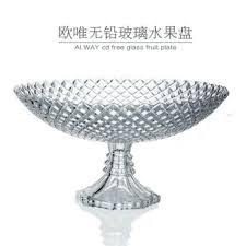 large crystal glass fruit plates