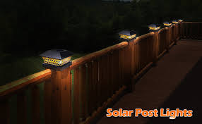 Amazon Com Siedinlar Solar Post Lights Outdoor Fence Deck Cap Light Solar Powered Metal Warm White Led Lighting Waterproof For Garden Patio Decoration 4x4 5x5 Wooden Posts Black 2 Pack Home Improvement