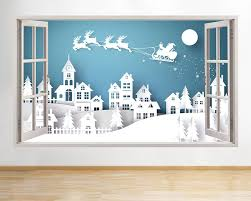 Details About Wall Stickers Snow Christmas Winter Santa Window Decal 3d Art Vinyl Room C678 Vinyl Room Christmas Decorations Office Christmas Decorations