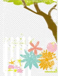 Graphic Design Euclidean Illustration Tree Flowers And White Fence Border White Leaf Png Pngwing
