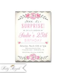 25th Surprise Birthday Party Invitations Free Printable Birthday