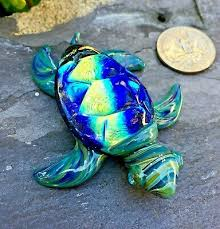 sea turtle pyrex paperweight sculpture