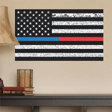 Thin Blue Line Thin Red Line American Flag Distorted Wall Decal Stic Wall Decal Studios Com