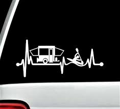 Bluegrass Decals Pop Up Camper Kayak Heartbeat Decal Sticker For Car Window 8 0 Inch Bg 354