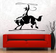 Vinyl Wall Decal Horse Cowboy Wild West Western Ranch Stickers Unique Wallstickers4you