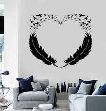 Vinyl Wall Decal Feathers Heart Decor Love Birds Romantic Stickers Unique Gift 299ig Wall Decals For Bedroom Cool Wall Decor Diy Wall Painting