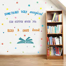 Amazon Com Something Very Magical Can Happen When You Read A Book Wall Decal Colorful Stars Inspirational Quote Sticker For Classroom Kids Room Library Decor Arts Crafts Sewing