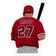 Mike Trout 27 Sticker By Devinobrien In 2020 Baseball Sticker Angel Stadium Mike Trout