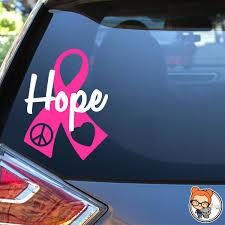 Hope Peace Love Ribbon Awareness Ribbon Vinyl Decal Etsy