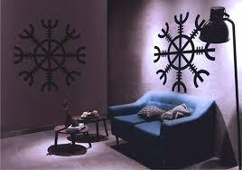 Viking Wall Decal Shield Sticker Aegishjalmur Pagan Rune Etsy Wall Decals Wall Paint Designs
