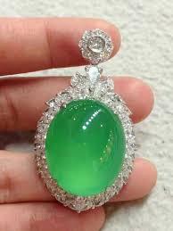 imperial green jade and diamond pendant
