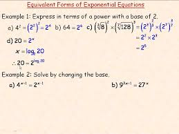 equivalent forms of exponential