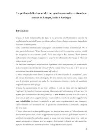 La gestione delle risorse idriche: quadro normativo e situazione ...