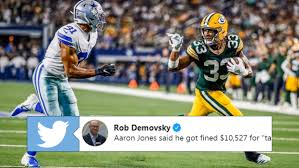 Aaron Jones had a great reaction after finding out he was being fined for  waving gesture - Article - Bardown
