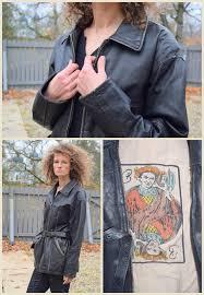 distressed black leather jacket women s