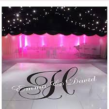 Amazon Com Wylcxx Large Custom Bride Groom Name Wedding Dance Floor Party Wall Sticker Wedding Monogram Personalized Name Decal Vinyl Home Decor 50cmwidex27cmhigh Kitchen Dining