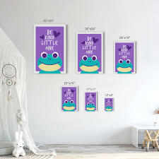 Frog Be Kind Little One Quote Purple Kids Room Decor Nursery Wall Art Smile Art Design