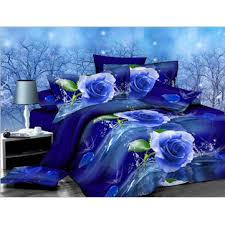 2pcs 3d blue rose printed bedding