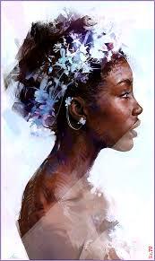 &;Portrait&; &; Aaron Griffin {figurative art beautiful female head reef  black woman face profile digit… in 2020 | Black art painting, Digital  painting portrait, Female art