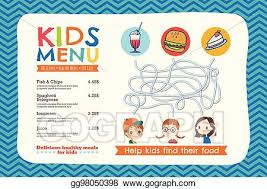 Vector Illustration Cute Colorful Kids Meal Menu Template Eps Clipart Gg98050398 Gograph