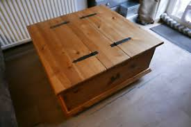 square pine chest coffee table on