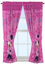 Amazon Com Disney Minnie Mouse Window Panels Curtains Drapes Pink Bow Tique 42 X 63 Each Home Kitchen