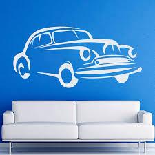 Shop Retro Old Car Auto Vintage Stickers Vinyl Decal Art Interior Design Kids Room Decor Sticker Decal 48 X 65 Black Overstock 15427974