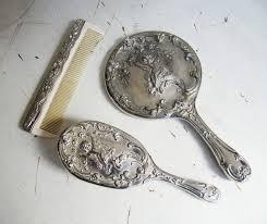 vintage silver art nouveau cherub brush