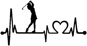 Lady Golfer Ladies Golf Heartbeat Lifeline Car Or Truck Window Decal Sticker Rad Dezigns