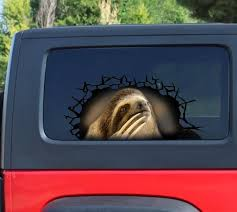 Sloth 3d Sticker Cracked Window Decal Funny Sloth Decal Etsy