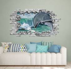 Dolphin Hole In The Decals Nautical Wall Sticker Sea Ocean Etsy