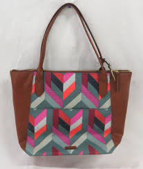 colorful printed leather tote purse
