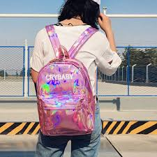 crybaby leather backpack hologram