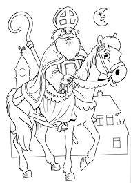 Sinterklaas Kleurplaat Sint Op Paard Wielostditop Nl