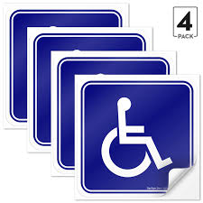 4 Pack 6x6 Inch Handicap Signs Stickers Decal Symbol Disability Sticker Premium Front Adhesive Vinyl For Applying Inside The Window Or Glass Door Ada Compliant Disabled Wheelchair Sign Signs