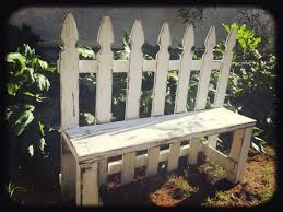 Gorgeous Upcycled Distressed White Picket Fence Garden Bench From Angry Wood Design Measuring 46 Long And White Picket Fence Garden Rustic Gardens Fence Decor