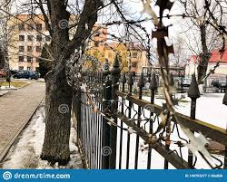 Iron Metal Sharp Dangerous Protective Barbed Wire On The Fence With Spikes And Stakes Against The Sky Stock Image Image Of Isolated Crime 140763277