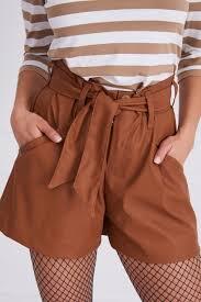 women high waist faux leather brown