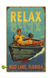 customizable vintage lake scene sign