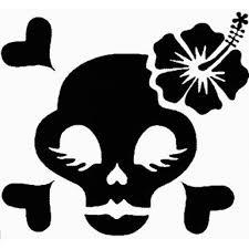 Skull Hibiscus Flower Car Decal Sticker