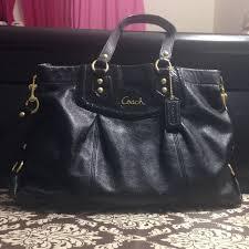 italy large black leather coach purse