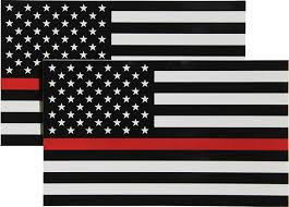 Amazon Com Thin Red Line Flag Decal 3x5 In Black White And Red American Flag Sticker For Cars Trucks And Suvs In Support Of Firefighters And Emts 2 Pack Automotive