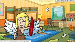 A Guardian Angel And Messy Kids Bedroom Background Clipart Cartoons By Vectortoons