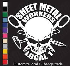 Union Skull Sheet Metal Workers Tinners Customizable Vinyl Decal Sticker Ebay