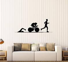 Wall Decal Sport Running Swimming Cycling Triathlon Vinyl Sticker Ed1 Wallstickers4you