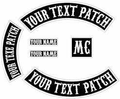 Amazon Com 6 Pack Custom Embroidered Mc Biker Patches Personalized Embroidery Rocker Patch Rider Motorcycle Patches Back Name Patch Appliqued Iron On Sew On Veterans Jacket Black Fabric White Text White Border