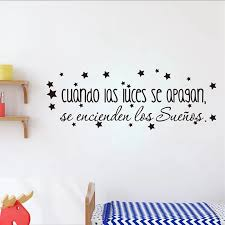 Spanish Children S Bedroom Vinyl Wall Decal The Dreams Come On Inspirational Spanish Quote Wall Stickers Baby Nursery Art Decor Wall Stickers Aliexpress