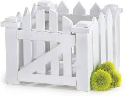 Amazon Com White Wood Picket Fence Flower Planter For Home Decor Weddings And Showers Garden Outdoor