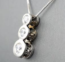 white gold diamond necklace 3 stone